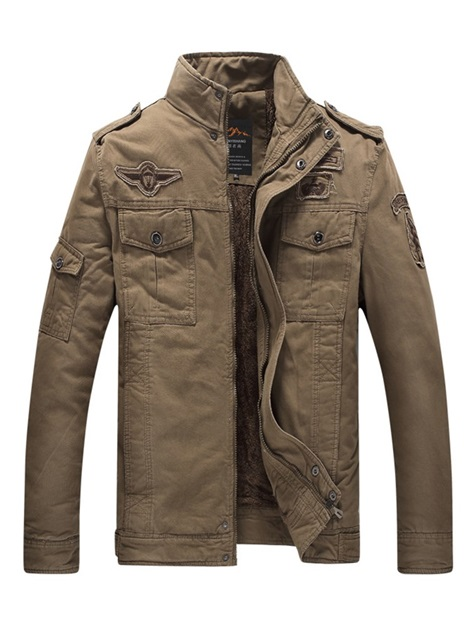 Stand Collar Plain Thick Winter Men's Jacket