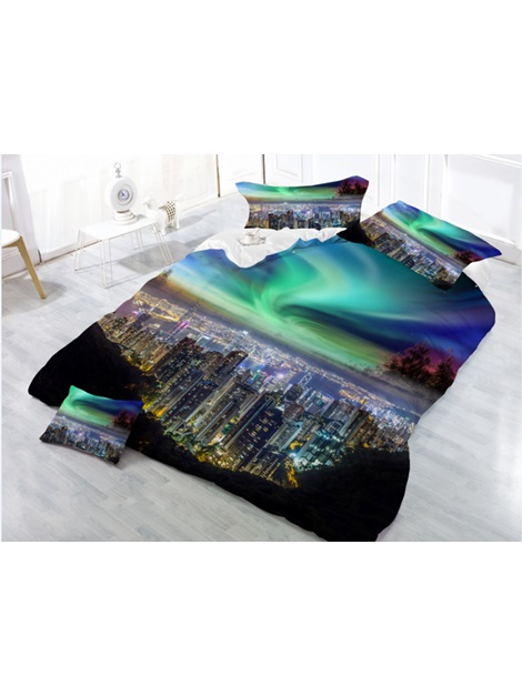 City Night Scenes Green Digital Printing Polyester 4-Piece 3D Bedding Sets /Duvet Cover