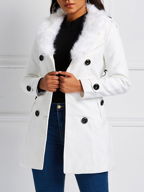 Double-Breasted Regular Lace-Up Mid-Length Winter Women's Overcoat