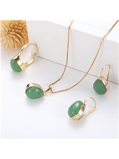 Vintage Water Drop Shape Emerald Party Jewelry Sets 2