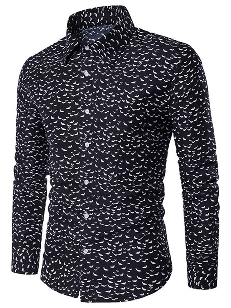 Lapel Casual Single-Breasted Print Men's Shirt
