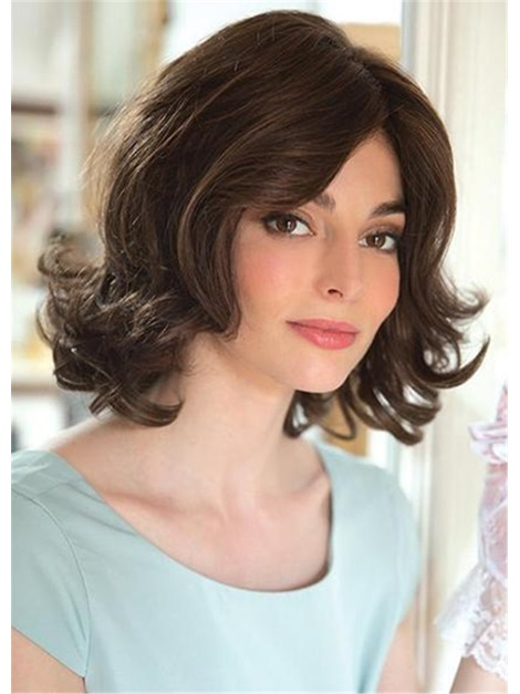Top Quality Medium Choppy Layered Big Curly Synthetic Capless Hair Wigs 14 Inches