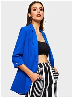 Three-Quarter Sleeve Plain Notched Lapel Date Night Women's Blazer 3