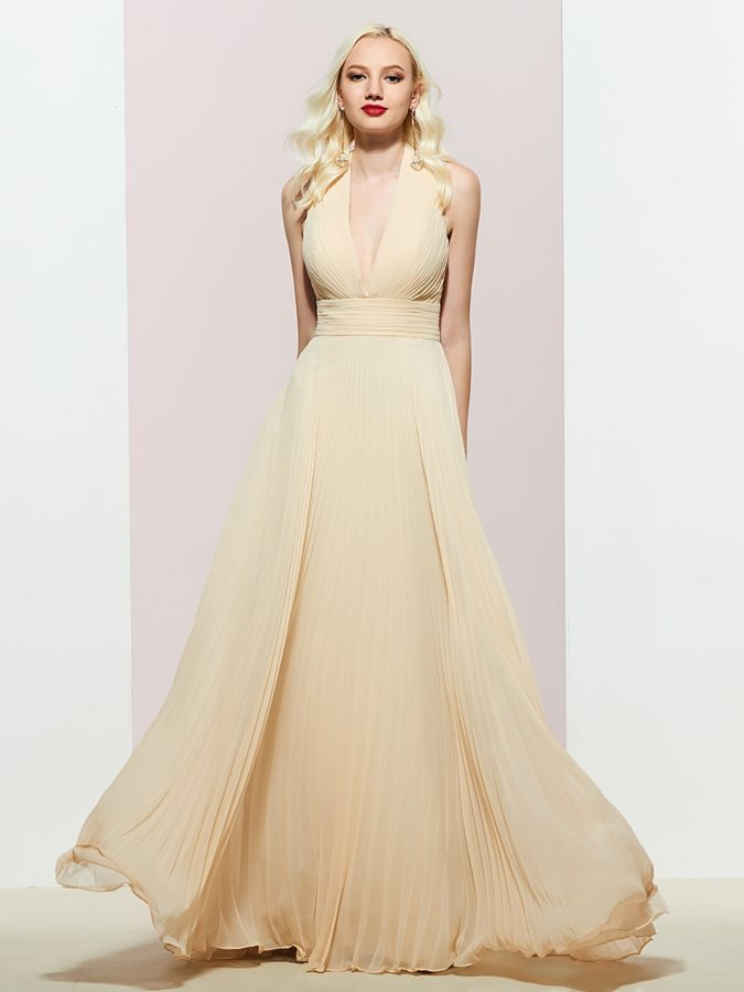 Sleeveless Floor-Length A-Line V-Neck Evening Dress 2019