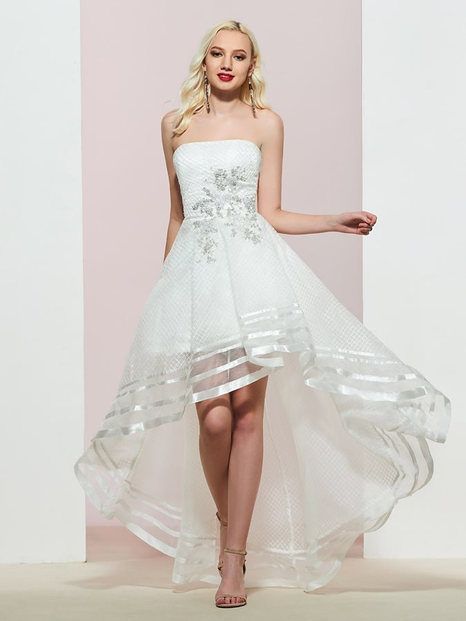 Strapless Tiered Sleeveless A-Line Prom Dress