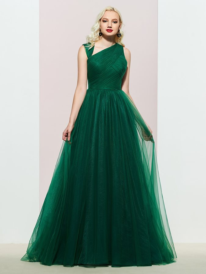 Pleats Sweep Train Sleeveless Floor-Length Evening Dress 2019