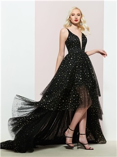 Asymmetry Tiered Spaghetti Straps Sequins Prom Dress