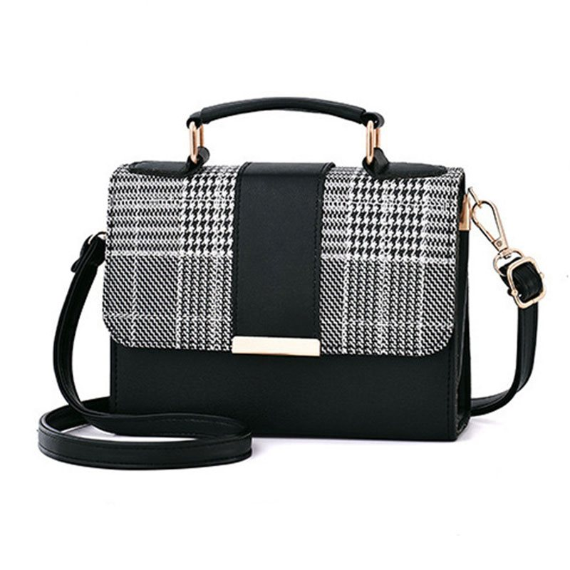 Houndstooth Patchwork PU Square Tote Bags