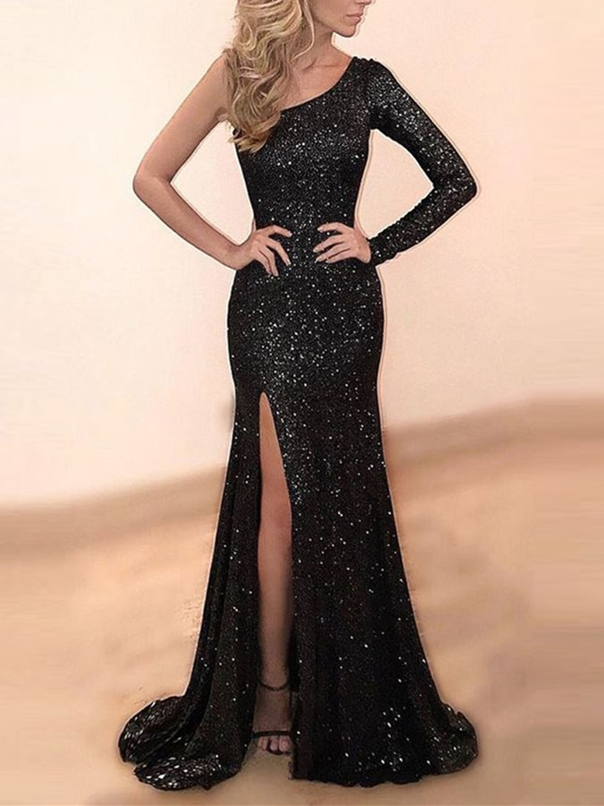 One-Shoulder Long Sleeve Sequins Evening Dress 2019