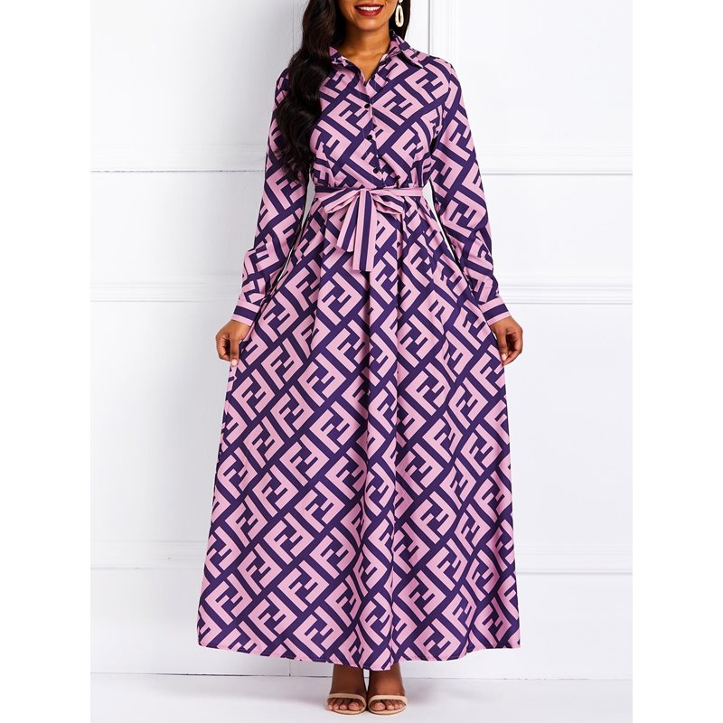 Long Sleeve A-Line African Fashion Womens Maxi Dress фото