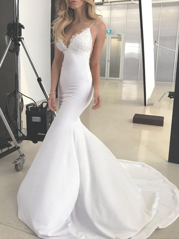 Spaghetti Straps Mermaid Lace Backless Wedding Dress