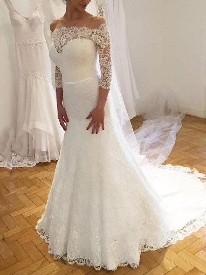 3/4 Length Sleeves Lace Off-The-Shoulder Wedding Dress