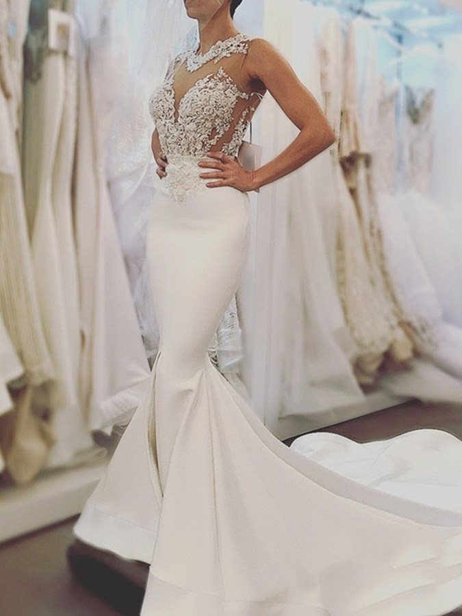 Appliques Hollow Backless Mermaid Wedding Dress