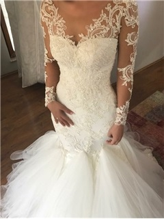 Mermaid Button Long Sleeves Appliques Wedding Dress 2019 5