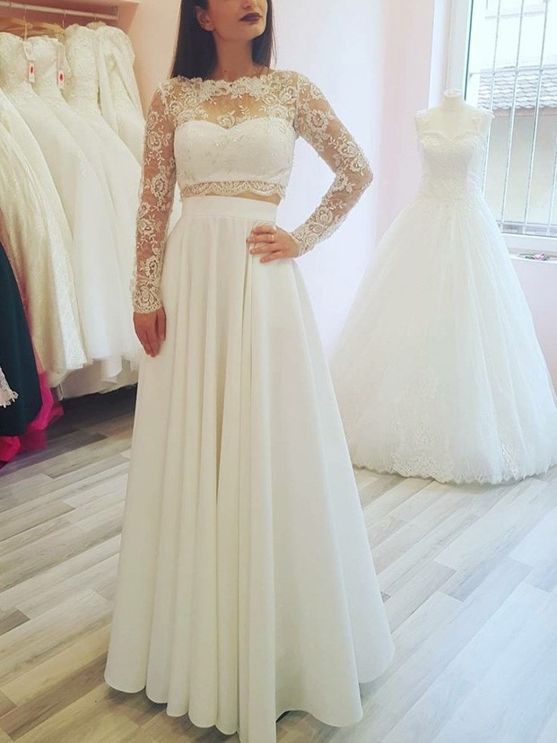 Lace Long Sleeve Two Pieces Beach Wedding Dress 2019