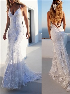 Spaghetti Straps Mermaid Lace Beach Wedding Dress 10