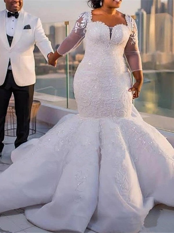 Sleeves Appliques Sequins Plus Size Wedding Dress
