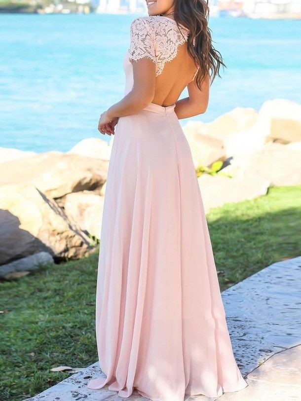 Short Sleeves A-Line Lace Bridesmaid Dress