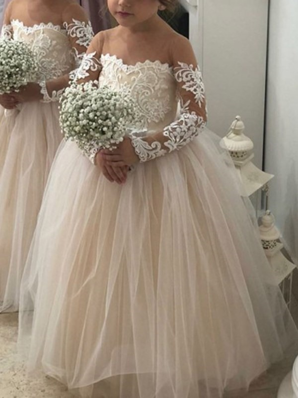Long Sleeves Illusion Neck Appliques Flower Girl Dress
