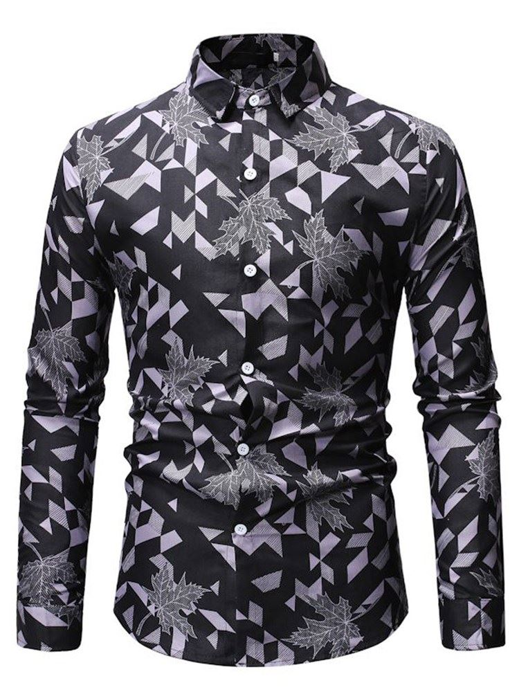 Geometric Print Lapel Slim Mens Shirt