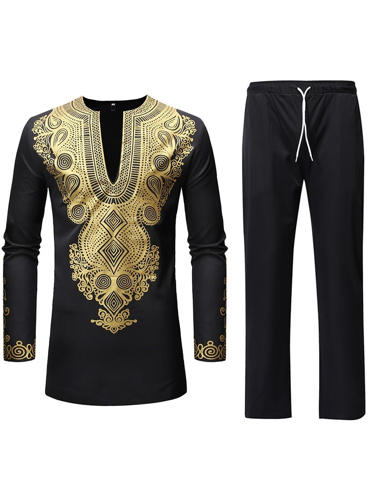Dshiki African Ethnic Style Shirt Pants Mens Suit