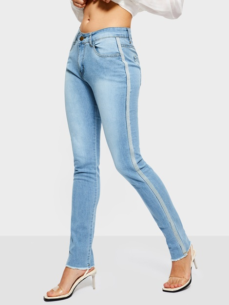 Side Stripe Mid Waist Slim Pencil Pants Women's Jeans