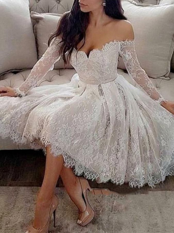 Off-The-Shoulder A-Line Long Sleeves Lace Cocktail Dress