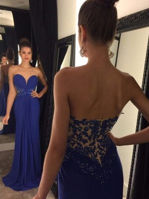 Appliques A-Line Sweetheart Sleeveless Prom Dress