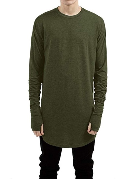 Round Neck Plain Long Sleeve Men s T-shirt   Tidebuy.com d0652299bc3