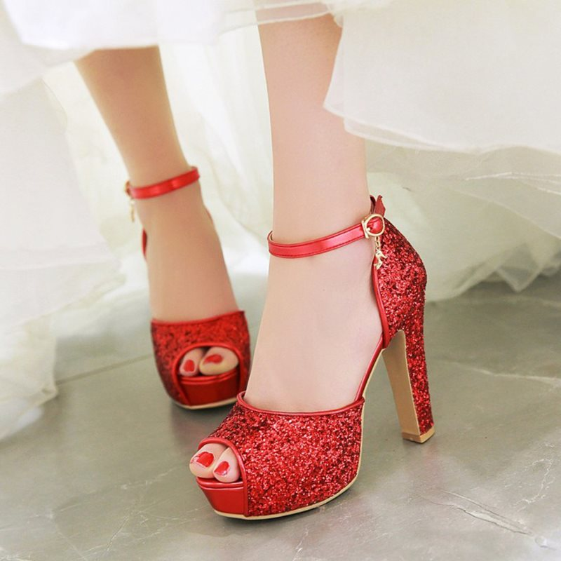 Chunky Heel Peep Toe Platform Wedding Shoes