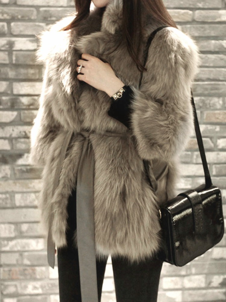 Mid-Length Notched Lapel Plain Thick Fall Womens Faux Fur Overcoat фото