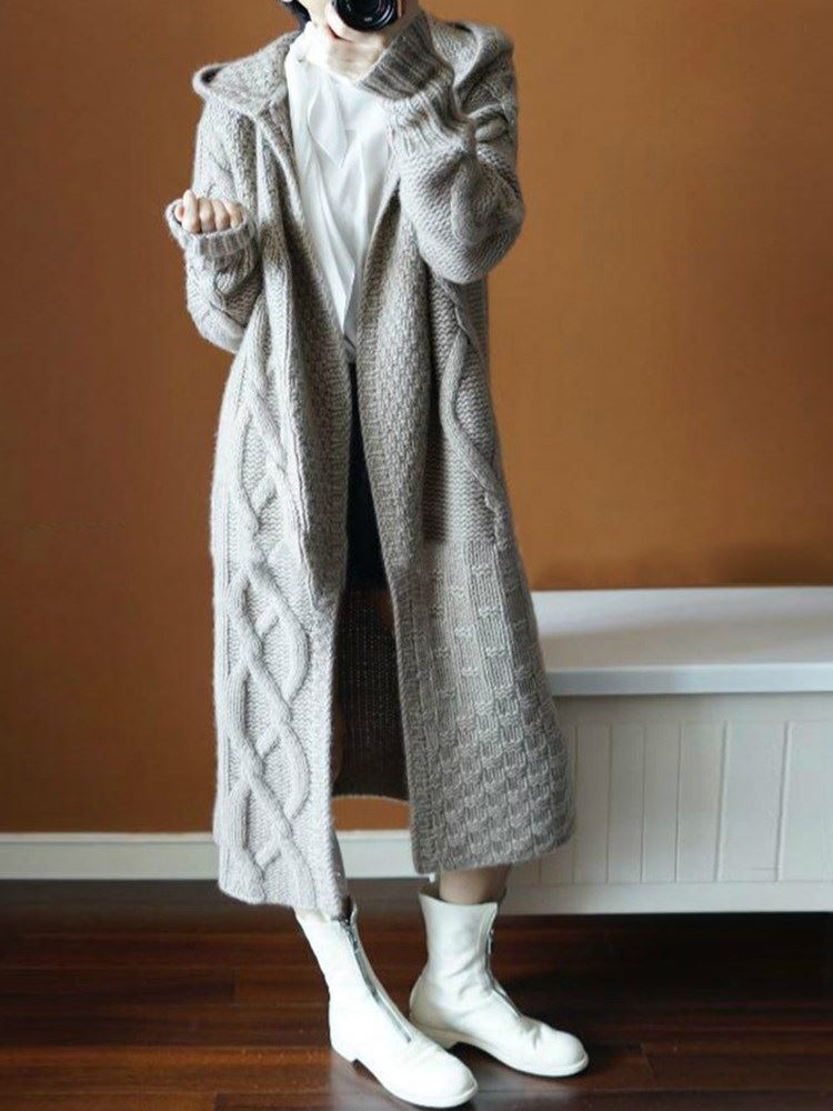 Thick Wrapped Regular Loose Knitted Womens Cardigan