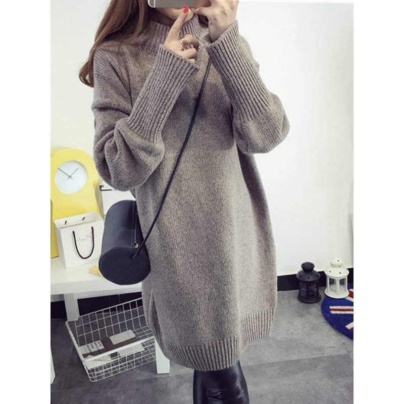 Above Knee Long Sleeve Pullover Womens Bodycon Dress