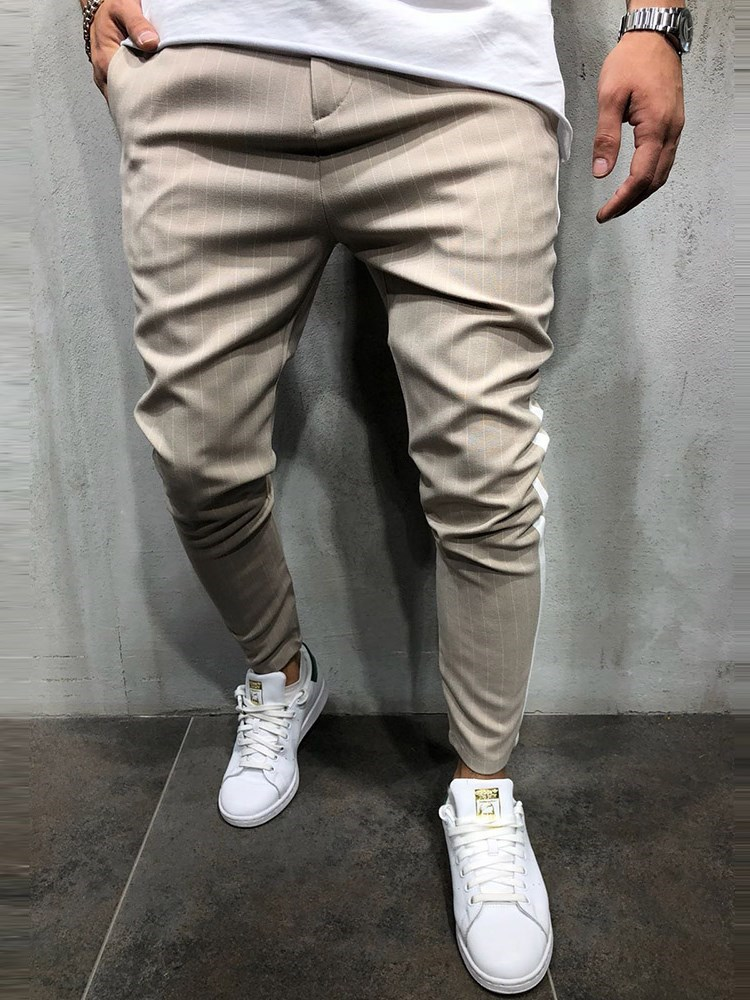 Side Stripe Slim Fit Mens Casual Pants