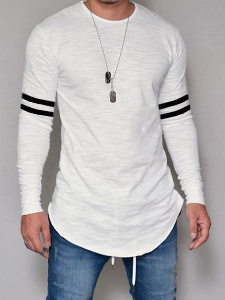 Print Round Neck Stripe Casual Slim Mens T-shirt