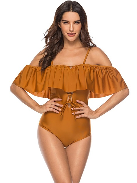 Sexy Plain Falbala One Piece Swimwear