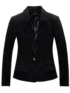 One Button Plain Long Sleeve Slim Women's Casual Blazer