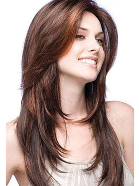 Sexy Long Elegant Natural Straight Human Hair Lace Front Wigs 22 Inches