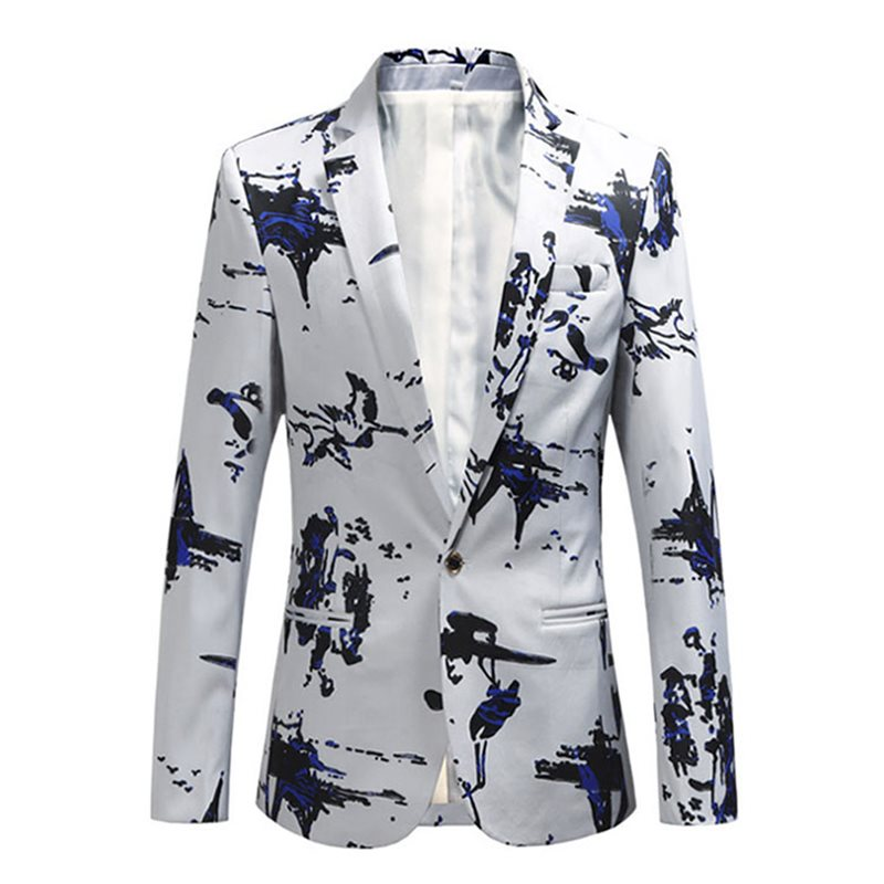One Button Floral Print Mens Blazer