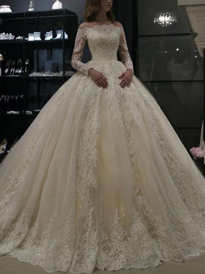 Off-The-Shoulder Ball Gown Long Sleeves Appliques Wedding Dress 2019