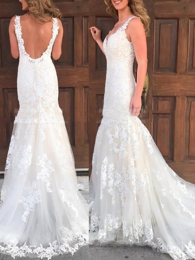 Straps Mermaid Appliques Backless Wedding Dress 2019