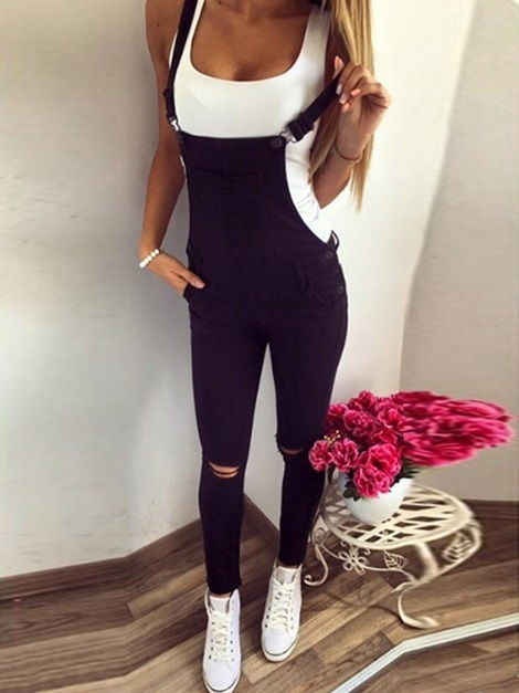 Suspender Button Plain Skinny Pencil Pants Women's Overall
