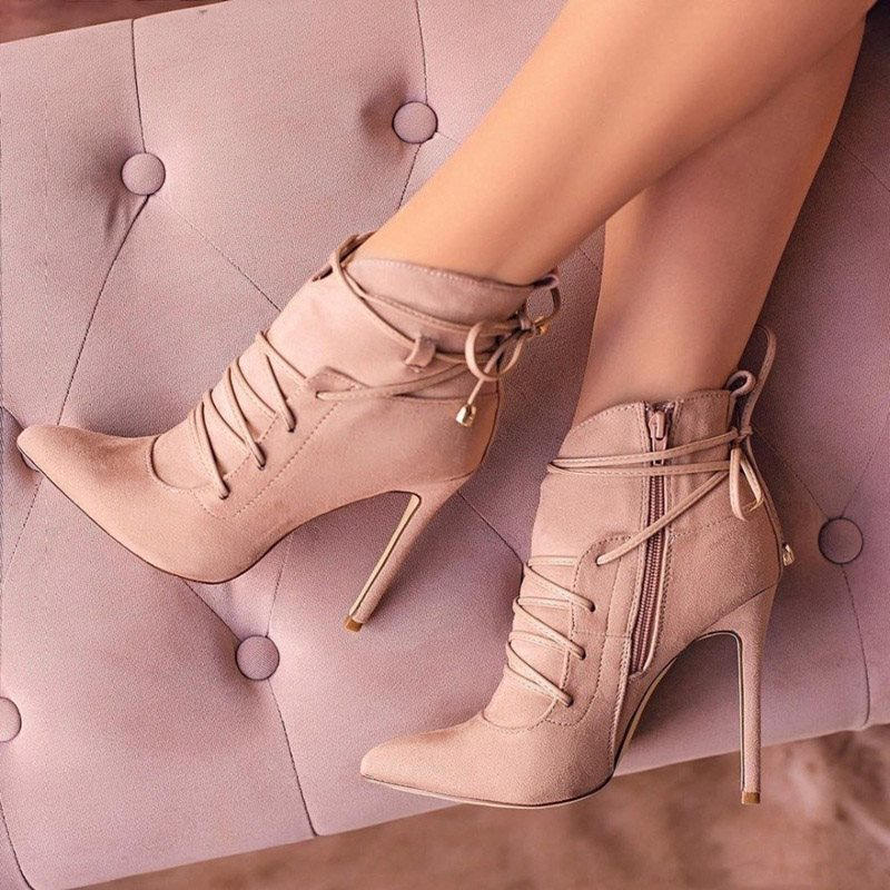 Plain Stiletto Heel Pointed Toe Lace-Up Womens Ankle Boots