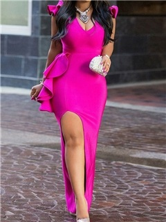 Floor-Length Falbala Sleeveless Polyester Women's Bodycon Dress 5