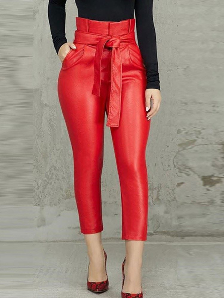 Slim Plain High Waist Cropped PU Womens Casual Pencil Pants