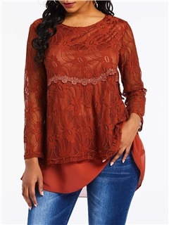 Round Neck Lace Mid-Length Long Sleeve Women's Blouse