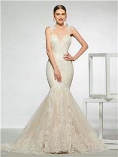 Spaghetti Straps Mermaid Lace Wedding Dress 2019 5