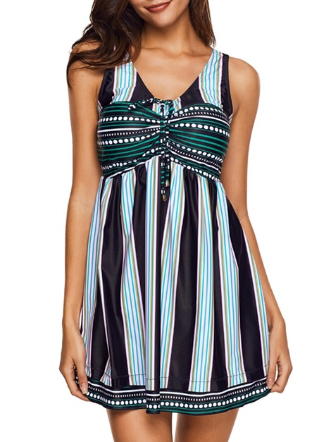 Plus Size Stripe Patchwork Beach Dress Tankini Set Swimwear