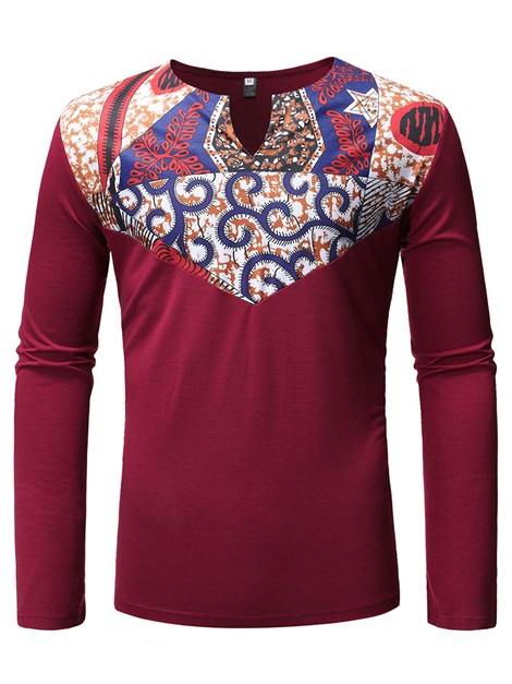 Dashiki Print African Fashion Ethnic Long Sleeve Men's T-Shirt