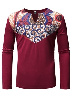 Dashiki Print African Fashion Ethnic Long Sleeve Men's T-Shirt 6